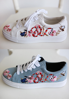 Embroidered Flower Pattern Sneakers