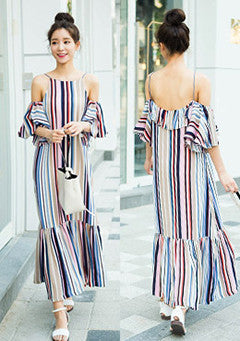 Color Vertical Stripe Off The Shoulder Maxi Dress