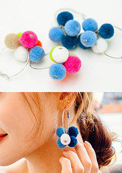 Pompom Flower Earrings