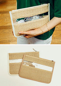 Blocked See-Through Straw Clutch
