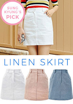 Back Banded Linen Skirt