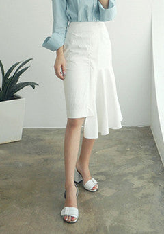 Asymmetrical Side Ruffled Hem Skirt