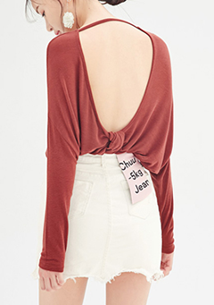 Open Back Long Sleeves Top