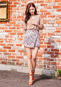 Ethnic Zigzag Wrap Skirt