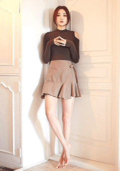 Side Ribbon Flare Hem Wrap Mini Skirt