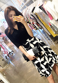 Black Floral Skirt Dress