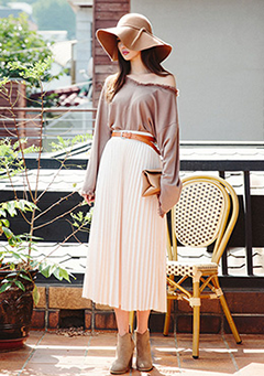 Banded Back Pleats Maxi Skirt