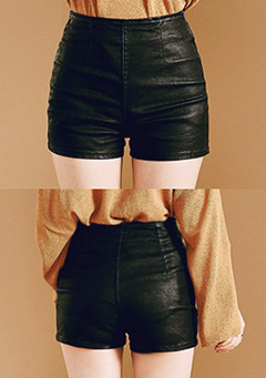 High Rise Coated Shorts