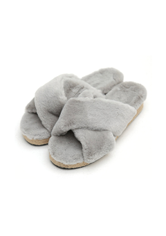 Criss Cross Fur Slippers