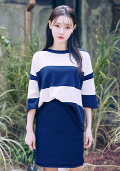 Block Stripe 3/4 Sleeve Knit