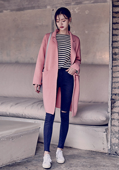 Double Collar Wool Knit Coat With Snap Button