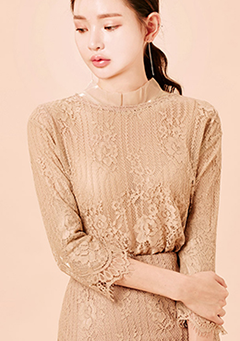 Inner Full Sheer Ripple Collar Blouse