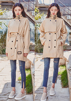Double Neck Buckle Trench Coat