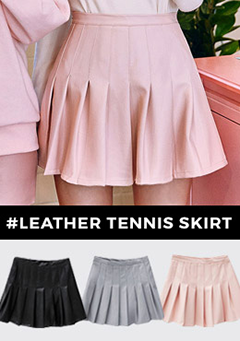 Half Pleat Leather Mini Skirt