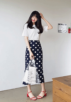 Wake Me Up Polka-Dot Midi Skirt