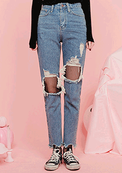 Distressed Raw Hem Jeans