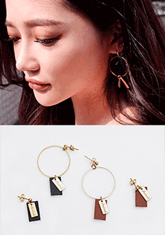 Asymmetric Hoop and Tag Earrings