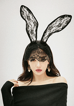 Bunny Ear and Lace Mask