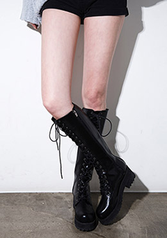 Side Zipper Laced Up High Boots