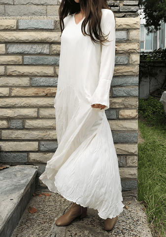 Natural Pleated Long Dress