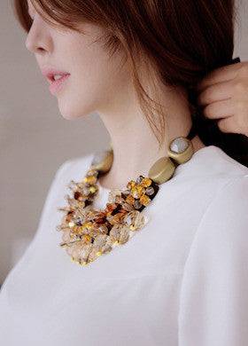 BUBBLE N CHIC<BR>Round Stone Beads Necklace