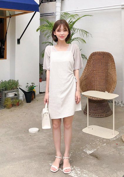 Unbalanced Side-Shirring Dress