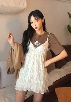 [CHUU MADE] Fringe Benefits Pinafore Dress