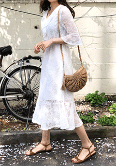Frill Lace Knitting Dress