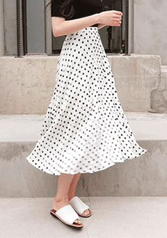Cute Dotted Midi Skirt
