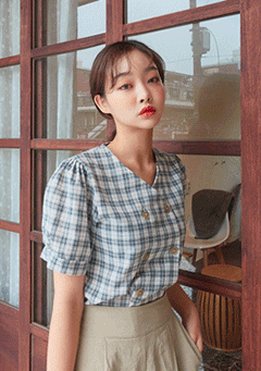Cute V Neck Checkered Blouse