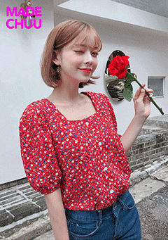 [CHUU MADE] Flower Garden Puff Blouse