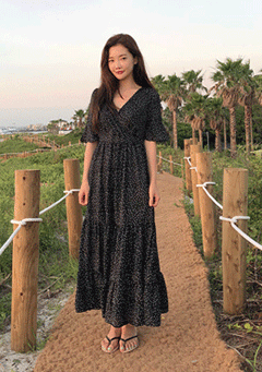 Dotted Maxi Dress In Black