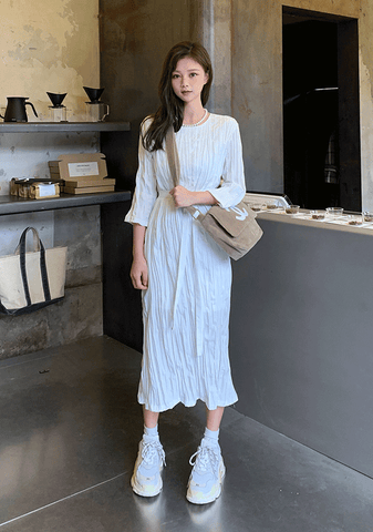 Natural Pleated Dress
