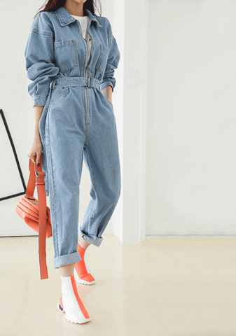 Lune Melody Straight Denim Jumpsuit