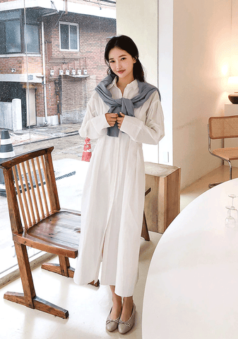 Pintuck Long Shirt Dress