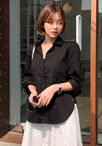 Back Ribbon Pointed Solid Shirt