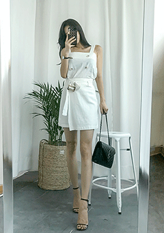 Cool And Simple Linen Top+Skirt Set