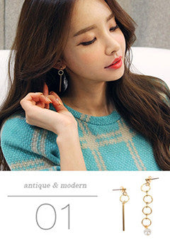 Assymetical Circle Earrings