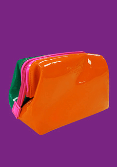 Enamel Make-Up Pouch - Orange