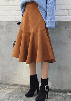 Soft Suede Flare Skirt