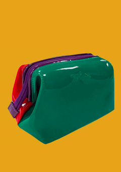 Enamel Make-Up Pouch - Green