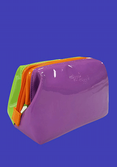Enamel Make-Up Pouch - Purple