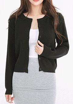Basic Round Neck Knit Cardigan