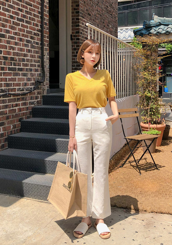 Long Leg Boots Cut Linen Pants