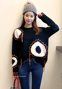 Round Eyes and Overgrown Lines Knitted Top