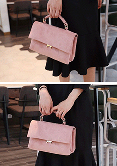 Faux Suede Rectangular Mini Handbag