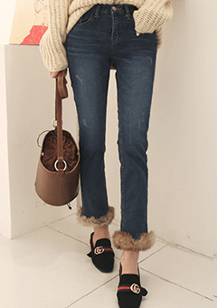 Fur-Trimmed Distressed Straight Leg Jeans