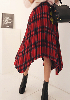 Long Pleated Check Skirt