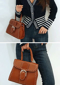 Big Buckle Stiched Mini Bag