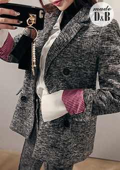 Tweed Double-Breasted Peak Lapel Blazer